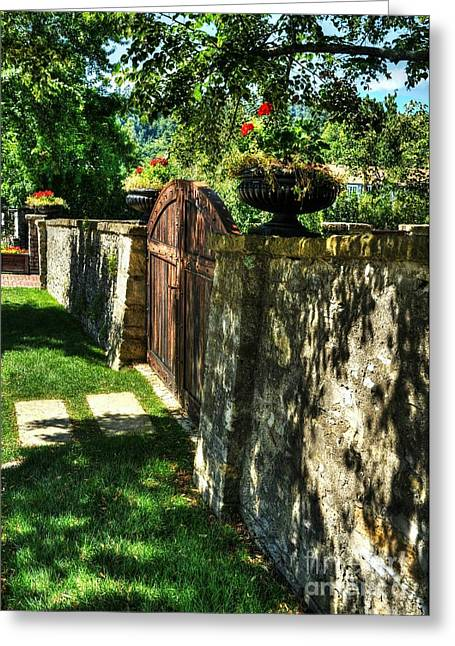 Indiana Flowers Greeting Cards - Stone Wall Shadows Greeting Card by Mel Steinhauer