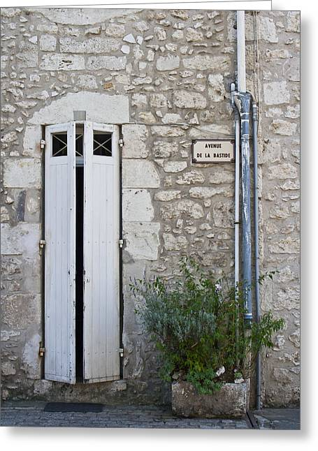 French Door Greeting Cards - Stone Wall Shutters and Plant Greeting Card by Nomad Art And  Design