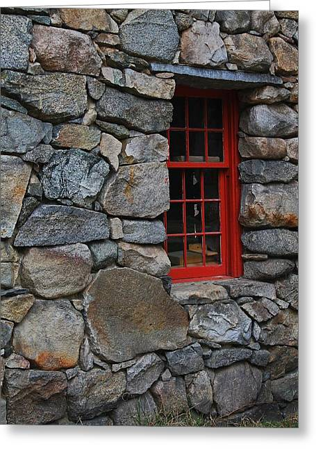 Sudbury Ma Photographs Greeting Cards - Stone Wall with Red Window Greeting Card by Michael Saunders