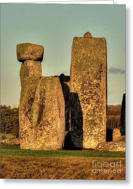 Monolith Greeting Cards - Stonehenge at Sunset Greeting Card by Deborah Smolinske