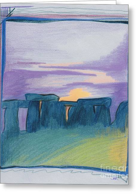 Surreal Landscape Drawings Greeting Cards - Stonehenge blue by jrr Greeting Card by First Star Art