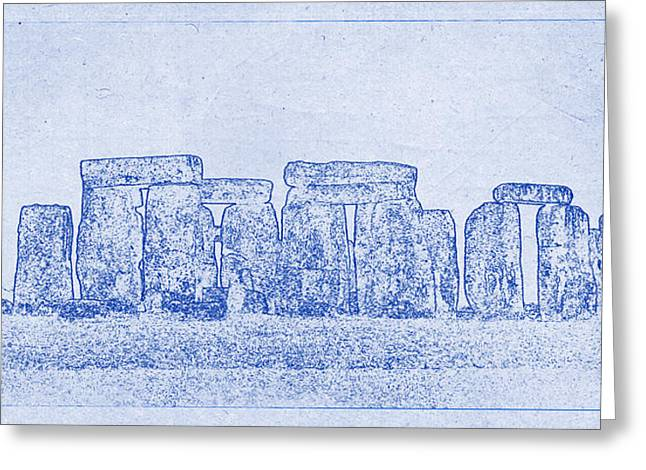Sacramental Greeting Cards - Stonehenge Blueprint Greeting Card by Justin Woodhouse