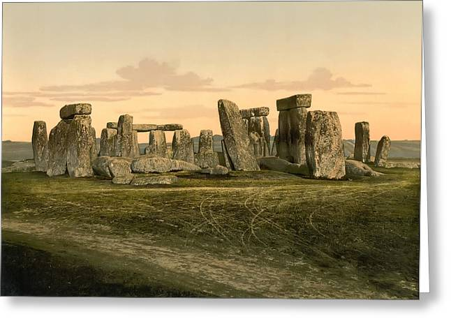 Winter Solstice Greeting Cards - Stonehenge circa 1895 Greeting Card by Digital Reproductions