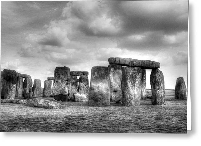Historic Site Greeting Cards - Stonehenge in Black and White Greeting Card by Greg Mimbs