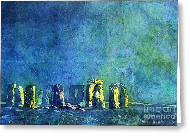 Rice Paper Greeting Cards - Stonehenge in Moonlight Greeting Card by Ryan Fox