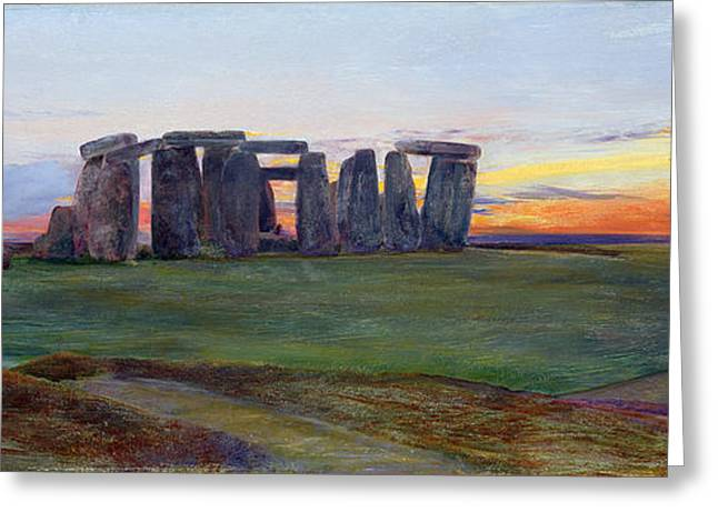 Stone Circle Greeting Cards - Stonehenge Greeting Card by John William Inchbold