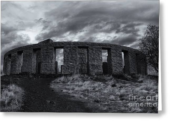 Storm Clouds Greeting Cards - Stonehenge of America Greeting Card by Mike  Dawson