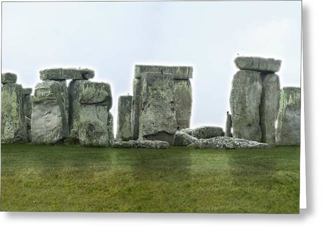 Stones Digital Art Greeting Cards - STONEHENGE Panoramic - England Greeting Card by Mike McGlothlen