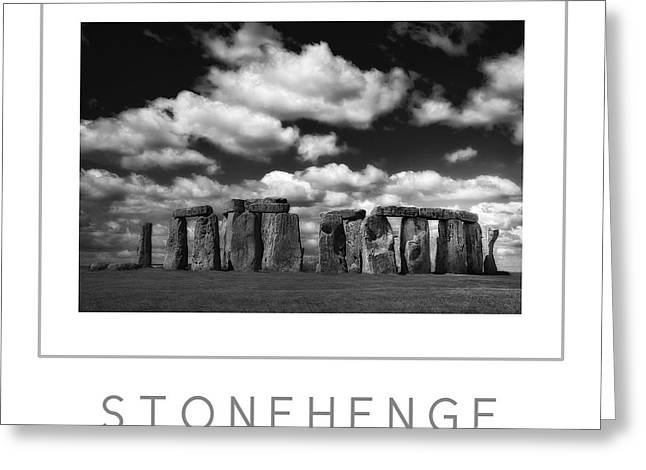Monolith Greeting Cards - Stonehenge poster BW Greeting Card by Mike Nellums