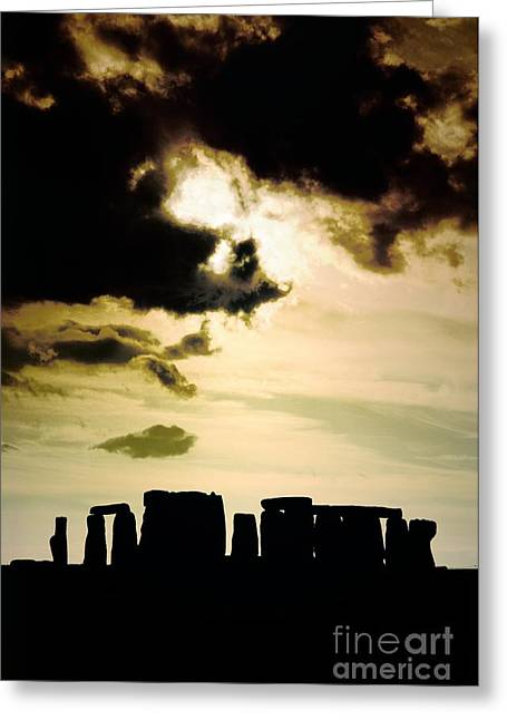 Ley Lines Greeting Cards - Stonehenge prehistoric stone circle stands on Salisbury Plain in Wiltshire England Greeting Card by David Lyons