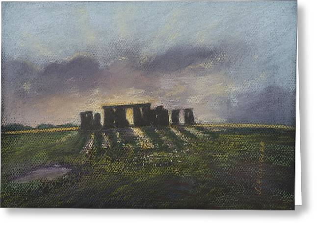 Moody Pastels Greeting Cards - Stonehenge Greeting Card by Sammy Hancock Cundiff