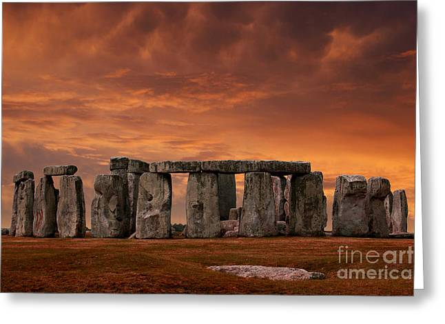 Heathen Greeting Cards - Stonehenge Sunset Greeting Card by John Wallace