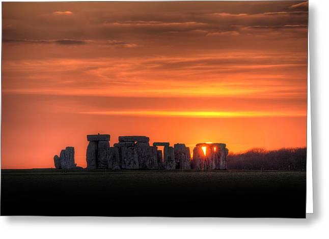 Stonehenge Sunset Greeting Card by Simon West