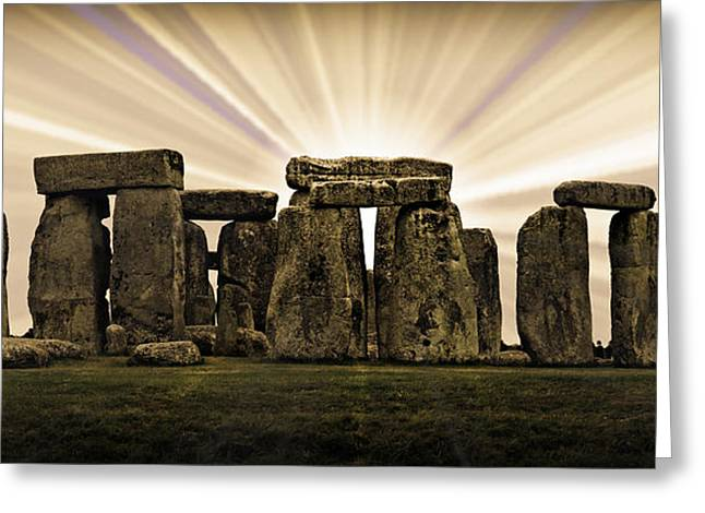 Amesbury Greeting Cards - Stonehenge -- With Sunburst Greeting Card by Stephen Stookey