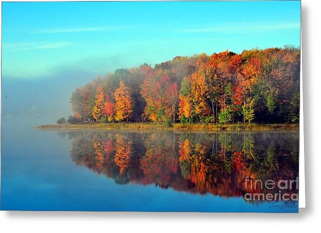 Calm Greeting Cards - Stoneledge Lake in Cadillac Michigan Greeting Card by Terri Gostola