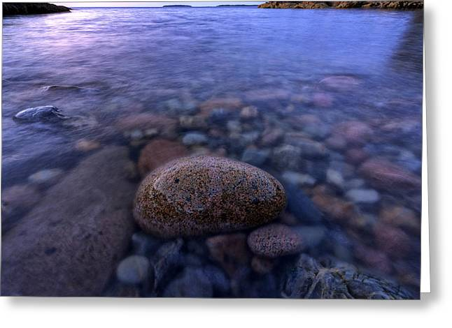 Maine Beach Greeting Cards - Stones and Water Greeting Card by Rick Berk