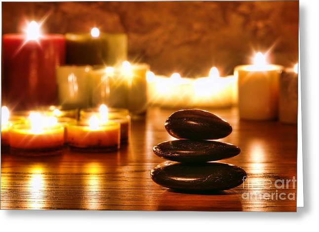 Harmonious Photographs Greeting Cards - Stones Cairn and Candles Greeting Card by Olivier Le Queinec