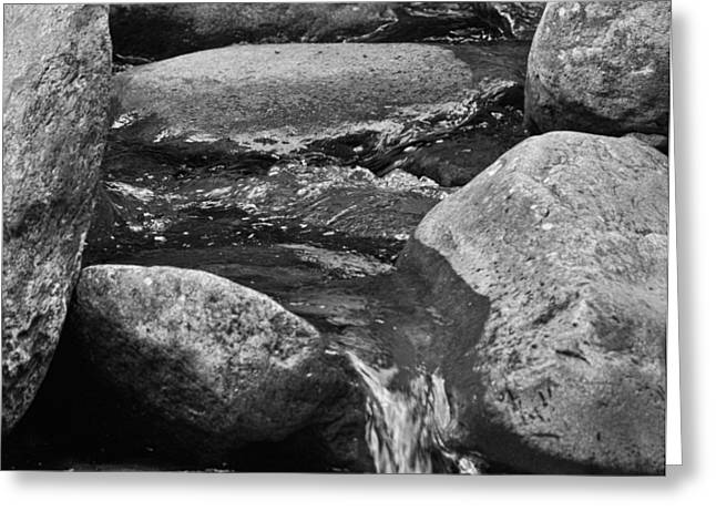 Crisp Greeting Cards - Stones Flow BW Greeting Card by Christi Kraft