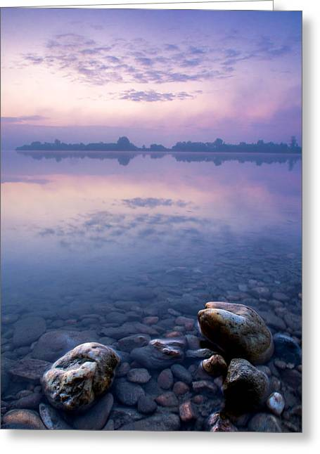 Haze Photographs Greeting Cards - Stones in purple dawn Greeting Card by Davorin Mance
