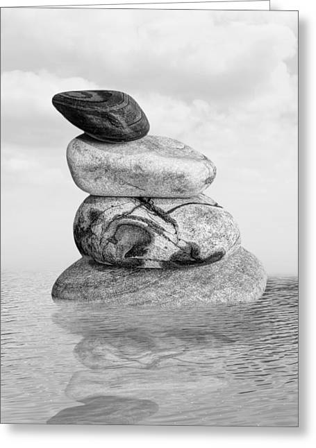 Reflection Of Rocks In Water Greeting Cards - Stones in Water Black and White Greeting Card by Gill Billington