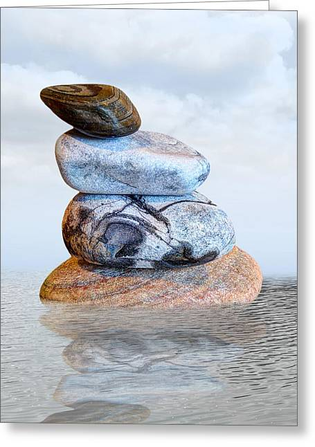 Reflection Of Rocks In Water Greeting Cards - Stones in Water Greeting Card by Gill Billington