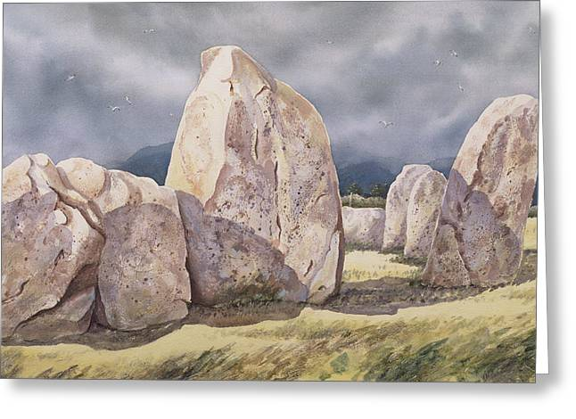 One Paintings Greeting Cards - Stones of Castlerigg Greeting Card by Evangeline Dickson