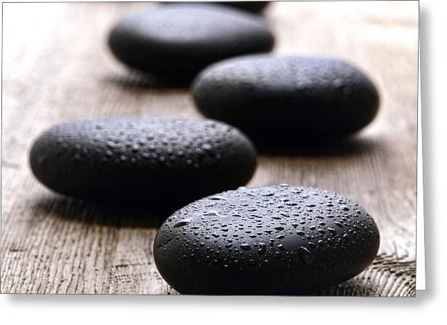 Stones On Wood Greeting Card by Olivier Le Queinec