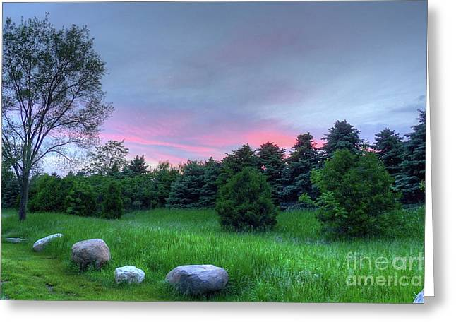 Openness Greeting Cards - Stones Throw Sunset Greeting Card by Deborah Smolinske