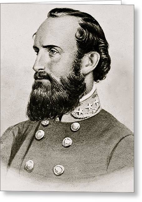 American Civil War Drawings Greeting Cards - Stonewall Jackson Confederate General Portrait Greeting Card by Anonymous
