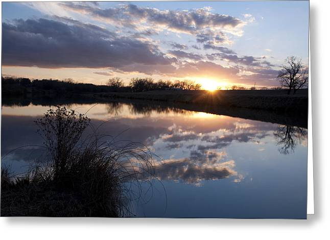 Sunset Reflecting In Water Greeting Cards - Stonewall Texas Greeting Card by Wendy Elliott