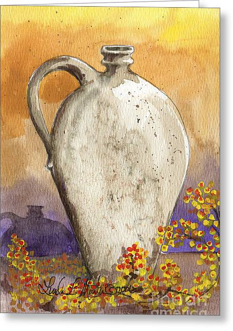 Bittersweet Greeting Cards - Stoneware Jug Greeting Card by Linda L Martin