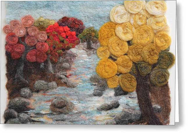 Wool Tapestries - Textiles Greeting Cards - Stoneycreek Autumn Greeting Card by Michelle Bowers