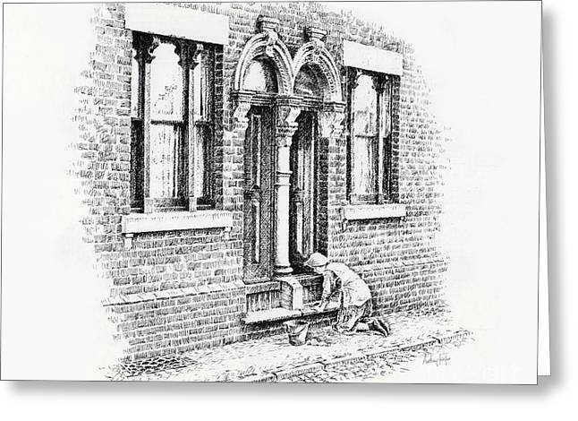 Stepping Stones Drawings Greeting Cards - Stoning Steps Middleport Greeting Card by Anthony Forster