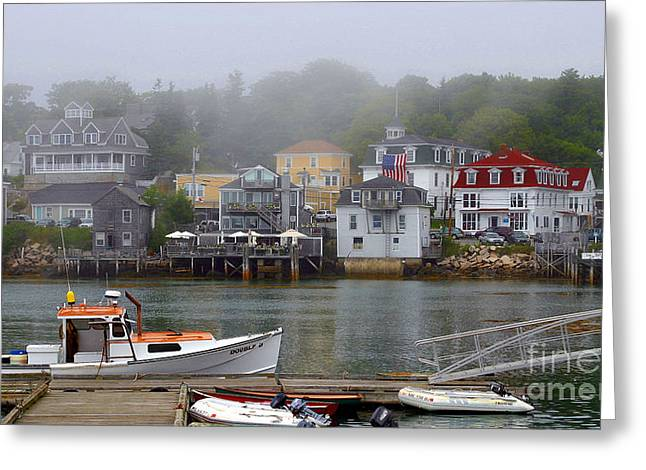 New England Village Greeting Cards - Stonington Harbor 2 Greeting Card by Laura Mace Rand