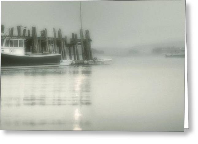 Foggy Ocean Greeting Cards - Stonington Harbor Greeting Card by Chad Tracy