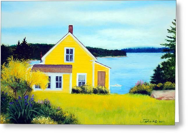 Maine Spring Paintings Greeting Cards - Stonington Summer House Greeting Card by Laura Tasheiko