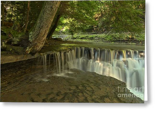 Ledge Greeting Cards - Stony Brook Ledge Cascades Greeting Card by Adam Jewell
