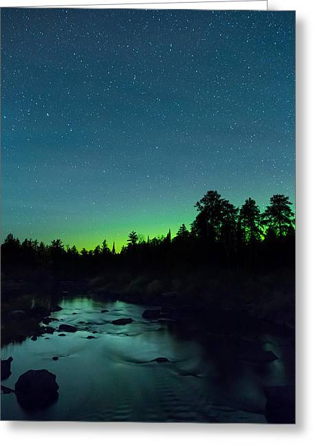Birch Lake Greeting Cards - Stony River Stars Greeting Card by Adam Pender