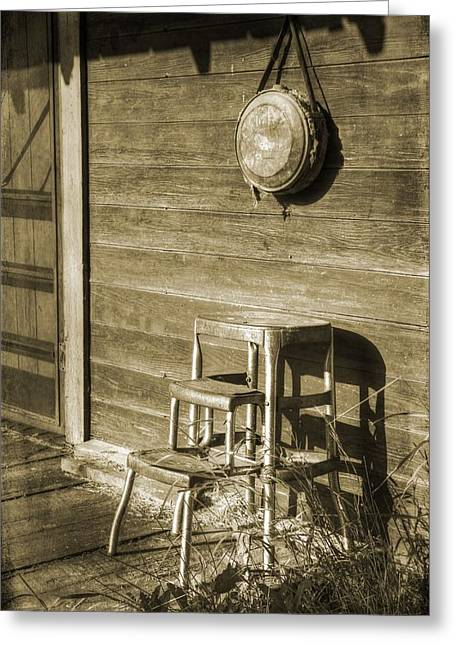 Screen Doors Greeting Cards - Stool Greeting Card by Vintage Country  Memories