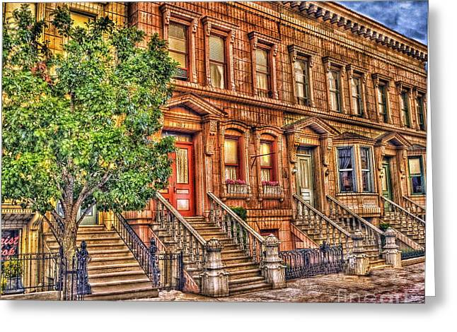 Brownstone Greeting Cards - Stoop Ball Anyone? Greeting Card by Arnie Goldstein