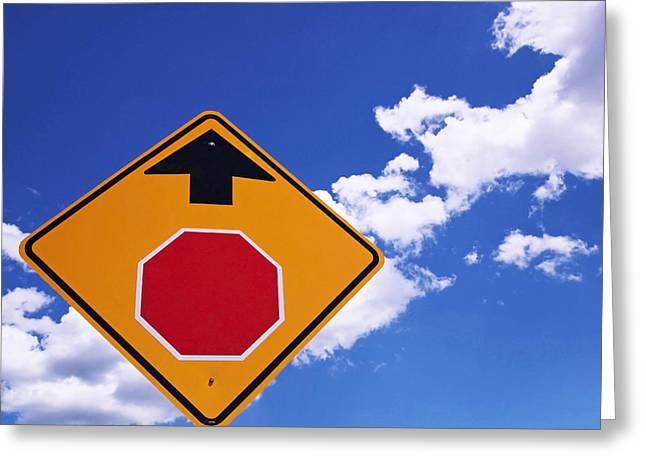Stop Ahead Greeting Card by Rona Black