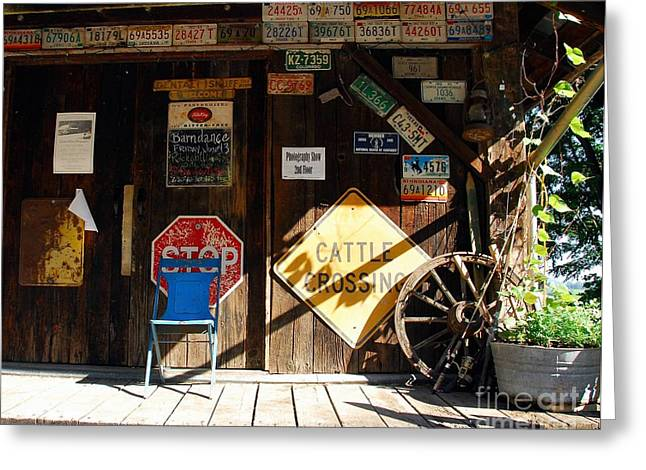 Wagon Wheels Greeting Cards - Stop And Have A Seat Greeting Card by Mel Steinhauer