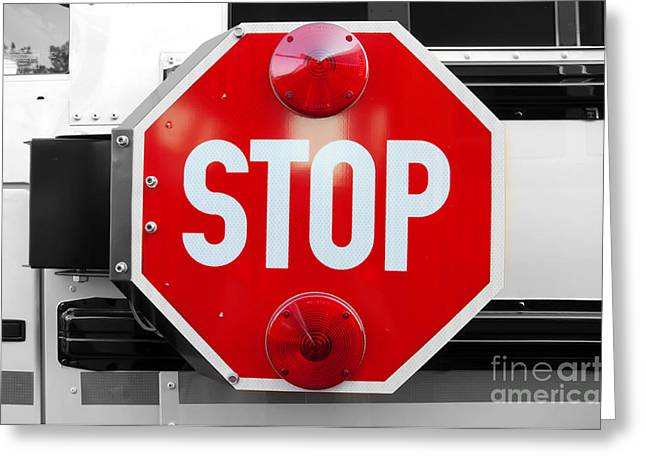 Bus Signs Greeting Cards - Stop BW Red Sign Greeting Card by Andee Design