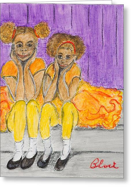 African-americans Pastels Greeting Cards - Stop Copying Off Me Greeting Card by Charlie Black