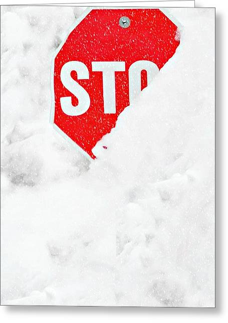 Stop Greeting Card by Diana Angstadt