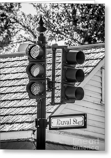 Stop For Red On Duval - Key West - Black And White Greeting Card by Ian Monk