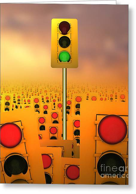 Stop Light Greeting Cards - Stop Lights Greeting Card by Mike Agliolo