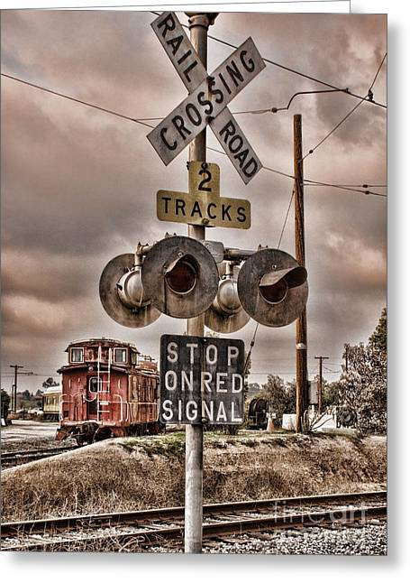 Peggy Hughes Greeting Cards - Stop on red signal Greeting Card by Peggy J Hughes