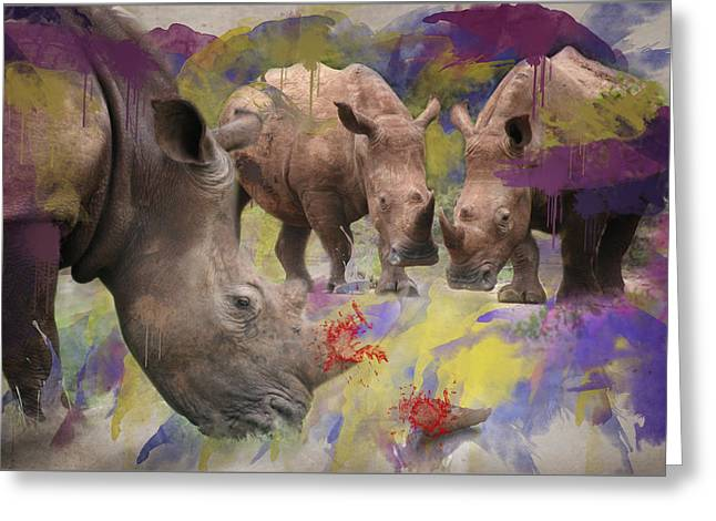 Rhinoceros Greeting Cards - Stop Rhino Poaching South Africa Greeting Card by Ronel Broderick