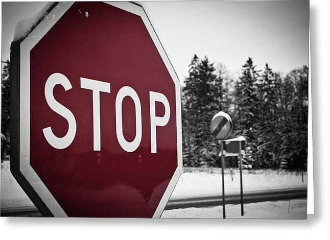 Stop Greeting Card by Robert Hellstrom